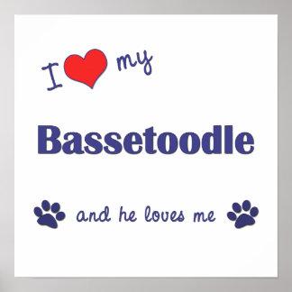 I Love My Bassetoodle (Male Dog) Poster