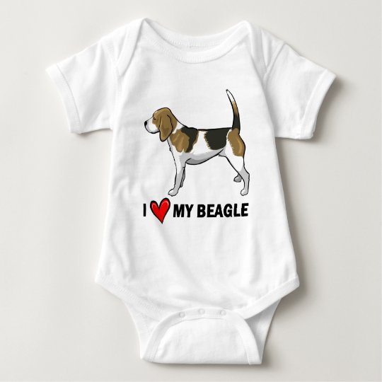 I Love My Beagle Baby Bodysuit