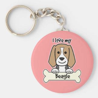 I Love My Beagle Basic Round Button Key Ring