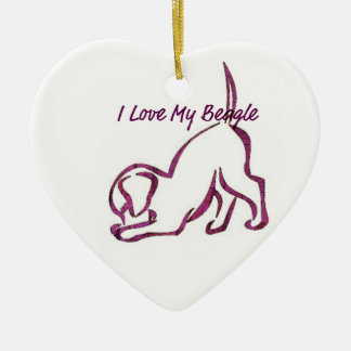 I Love My Beagle Ceramic Heart Decoration