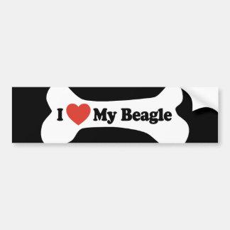 I Love My Beagle - Dog Bone Bumper Sticker
