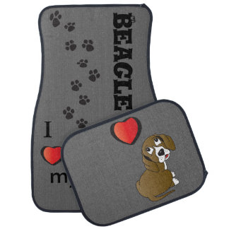 I Love my Beagle Dog Car Mat