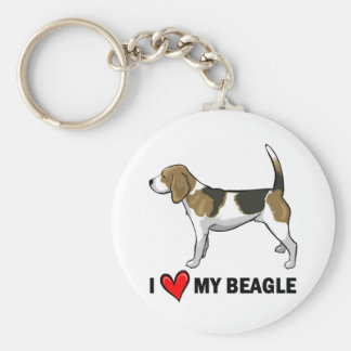 I Love My Beagle Key Ring