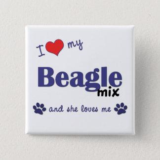 I Love My Beagle Mix (Female Dog) 15 Cm Square Badge