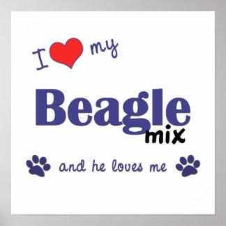 I Love My Beagle Mix (Male Dog) Poster Print