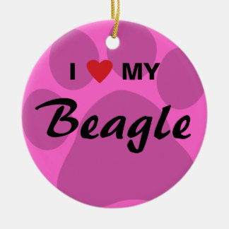I Love My Beagle Pawprint Round Ceramic Decoration