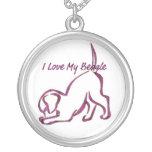I Love My Beagle Round Pendant Necklace