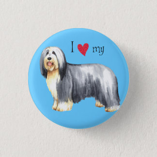 I Love my Bearded Collie 3 Cm Round Badge