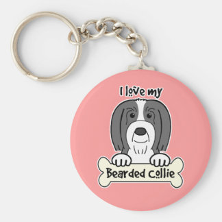 I Love My Bearded Collie Basic Round Button Key Ring