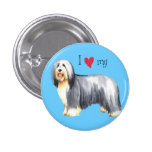 I Love my Bearded Collie Buttons