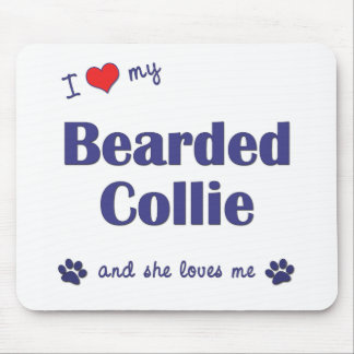 I Love My Bearded Collie Female Dog Mouse Mats