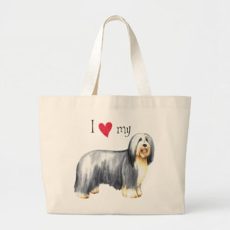 I Love my Bearded Collie Large Tote Bag