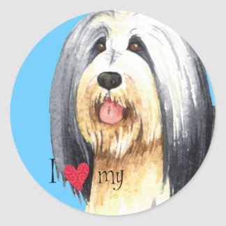 I Love my Bearded Collie Round Sticker