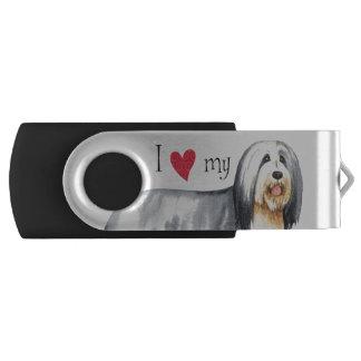 I Love my Bearded Collie Swivel USB 3.0 Flash Drive