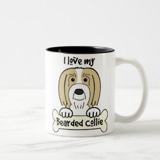 I Love My Bearded Collie Two-Tone Mug