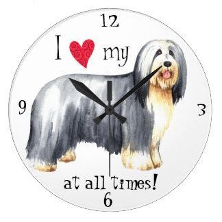 I Love my Bearded Collie Wall Clocks