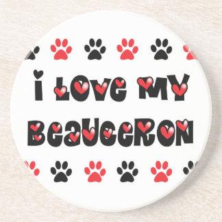 I Love My Beauceron Beverage Coaster