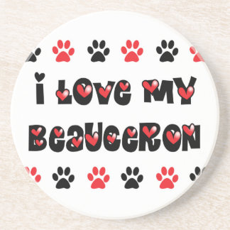 I Love My Beauceron Beverage Coasters