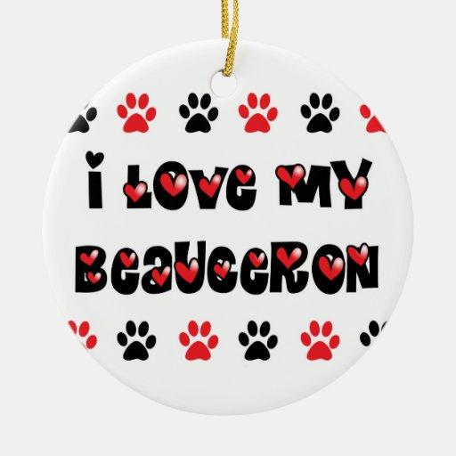 I Love My Beauceron Christmas Tree Ornaments