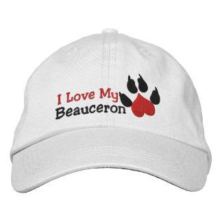 I Love My Beauceron Dog Paw Print Embroidered Baseball Caps