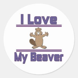 I Love My Beaver Classic Round Sticker