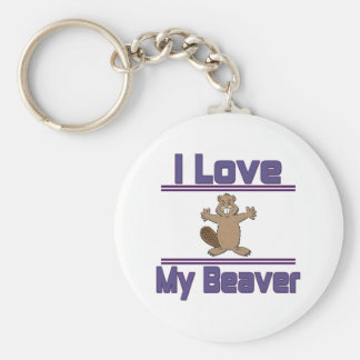 I Love My Beaver Key Ring