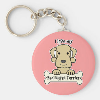 I Love My Bedlington Terrier Basic Round Button Key Ring