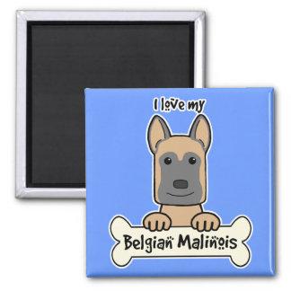 I love My Belgian Malinois Square Magnet