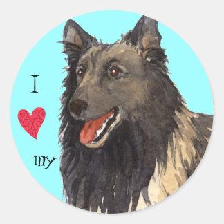 I Love my Belgian Tervuren Round Sticker