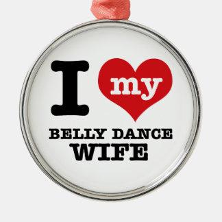 I love my belly dance Boyfriend Silver-Colored Round Decoration