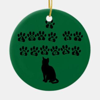 I Love My Bengal--Black Text Christmas Ornament
