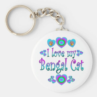 I Love My Bengal Cat Basic Round Button Key Ring