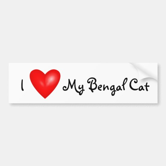 I love my Bengal cat car bumper sticker