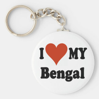 I Love My Bengal Cat Merchandise Basic Round Button Key Ring