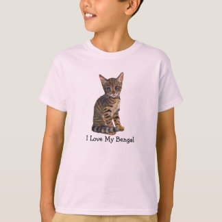 I Love My Bengal, Kitten, Cat in Color Pencil Tshirt