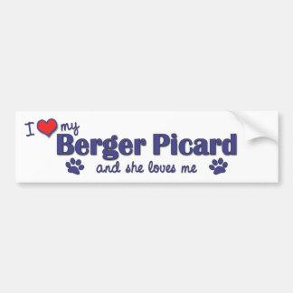 I Love My Berger Picard Female Dog Bumper Stickers