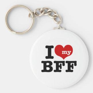 I Love My BFF Basic Round Button Key Ring