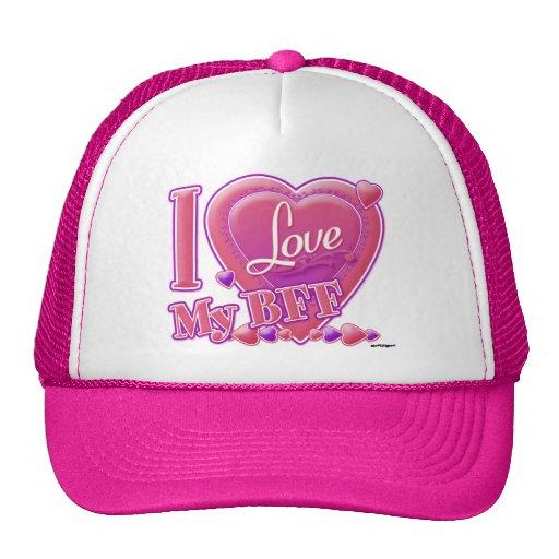 I Love My BFF pink/purple - hearts Mesh Hat