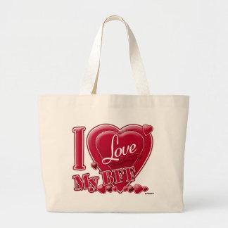 I Love My BFF red - heart Bag