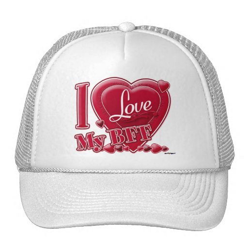 I Love My BFF red - heart Mesh Hats