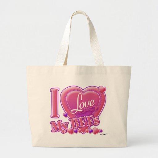 I Love My BFFs pink/purple - hearts Bag