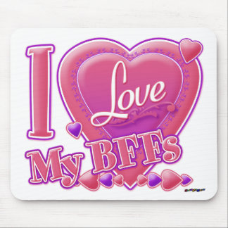 I Love My BFFs pink/purple - hearts Mouse Mat