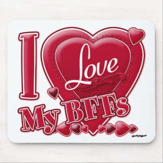 I Love My BFFs red - heart Mousepads