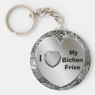 I Love My Bichon Frise Heart Keychain