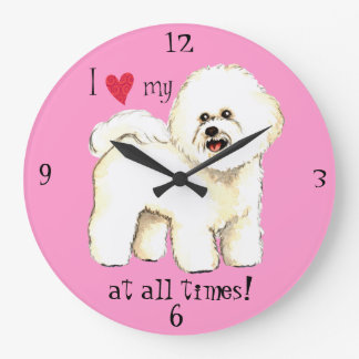 I Love my Bichon Frise Large Clock