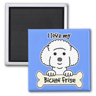 I Love My Bichon Frise Square Magnet