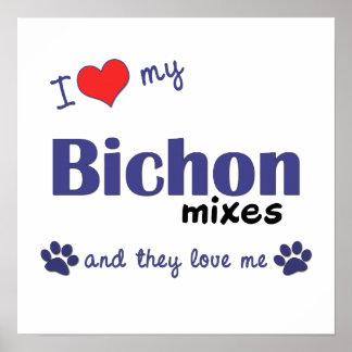 I Love My Bichon Mixes (Multi Dogs) Poster Print