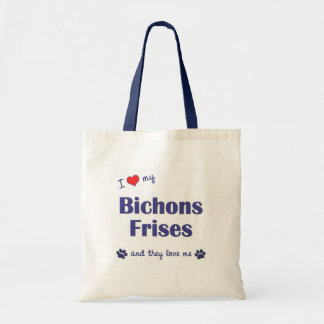 I Love My Bichons Frises (Multiple Dogs) Tote Bag