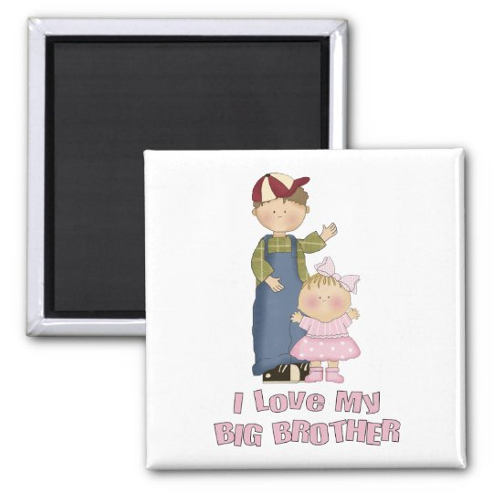 I Love My Big Brother Boy and Little Girl Square Magnet
