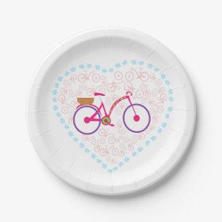 I Love My Bike Paper Plate